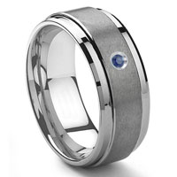 Tungsten Carbide 9MM Sapphire Men's Wedding Band ring w/ Stepped edges