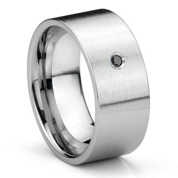 Tungsten Carbide Black Diamond 10MM Flat Brush Finish Wedding Band Ring
