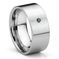 Tungsten Carbide Black Diamond 10MM Flat Brush Finish Men's Wedding Band Ring
