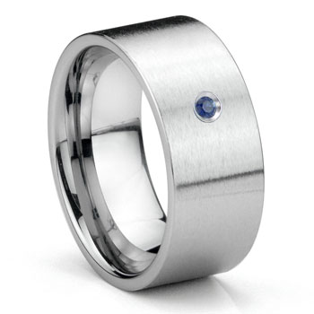 Tungsten Carbide Sapphire 10MM Flat Brush Finish Wedding Band Ring