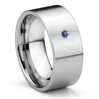 Tungsten Carbide Sapphire 10MM Flat Brush Finish Men's Wedding Band Ring
