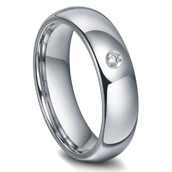 Tungsten Carbide 6MM Diamond Dome Wedding Band