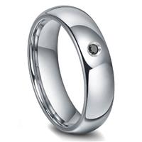 Tungsten Carbide 6MM Black Diamond Dome Wedding Band