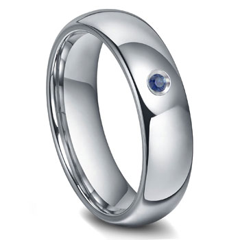 Tungsten Carbide 6MM Sapphire Dome Wedding Band