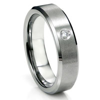 Tungsten Carbide Diamond Satin Finish Beveled Men's Wedding Ring