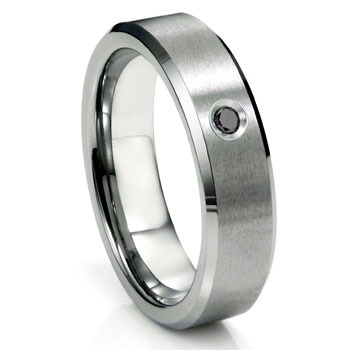 Tungsten Carbide Black Diamond Satin Finish Beveled Men's Wedding Ring