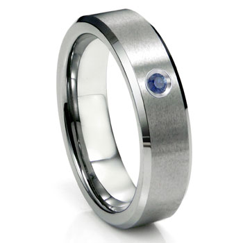 Tungsten Carbide Sapphire Satin Finish Beveled Men's Wedding Ring