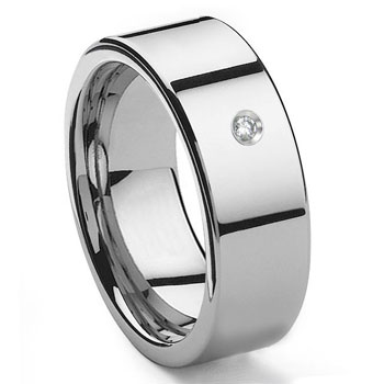 Tungsten Carbide Diamond 10MM Flat Wedding Band Ring