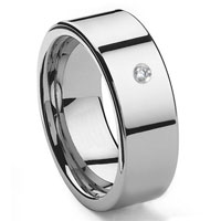 Tungsten Carbide Diamond 10MM Flat Men's Wedding Band Ring