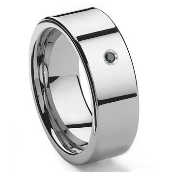 Tungsten Carbide Black Diamond 10MM Flat Wedding Band Ring