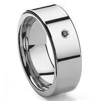 Tungsten Carbide Black Diamond 10MM Flat Men's Wedding Band Ring