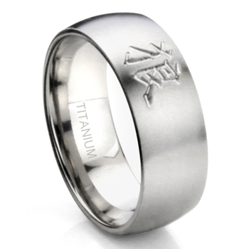 Titanium 8mm Dome Kanji Tattoo Band Ring