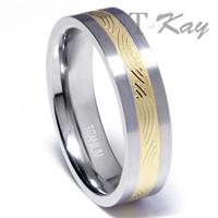Titanium Golden Ip Inlay Wedding Ring
