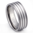 Titanium 3 Stripe Silver Inlay Wedding Ring