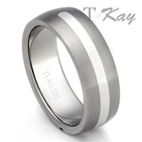 Titanium Silver Inlay Wedding Dome Ring