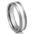 Flat Titanium Silver Inlay Wedding Ring