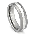 Titanium Silver Inlay Diamond Ring w/ Diagonal Grooves