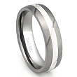 Titanium Silver Inlay Ring w/ Diagonal Grooves