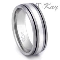 Titanium Silver Inlay Ring w/ Two Grooves