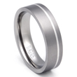 Titanium Silver Inlay Wedding Ring