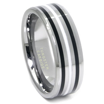 Tungsten Carbide Black/White Resin Wedding Band Ring
