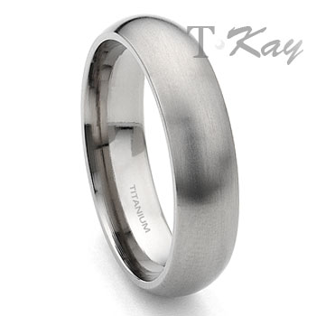 Titanium 6mm Dome Wedding Band Ring