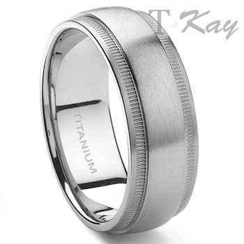 CAMMI Titanium 8mm Milgrain Wedding Band Ring
