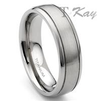 Titanium 7mm Grooved Wedding Band Ring