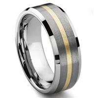 ODYSSEY 8MM Satin Finish Tungsten Carbide 14K Gold Inlay Wedding Band