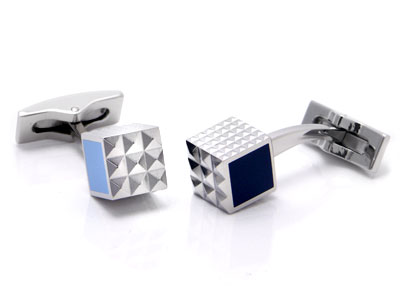 ST Dupont Palladium Blue Lacquer Diamond Head Cufflinks
