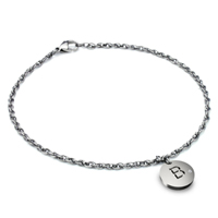 Titanium 2.5MM Rope Link Anklet w/ Diamond Initial Tag