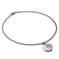 Titanium 2MM Curb Link Anklet w/ Diamond Initial Tag