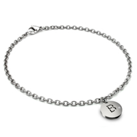 Titanium 3MM Rolo Link Anklet w/ Diamond Initial Tag