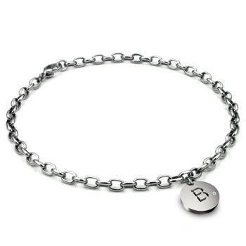 Titanium 4MM Oval Link Anklet w/ Diamond Initial Tag