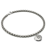 Titanium 4MM Box Link Anklet w/ Diamond Initial Tag
