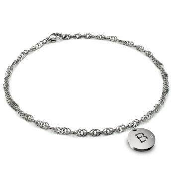 Titanium 3.5MM Singapore Link Anklet w/ Diamond Initial Tag