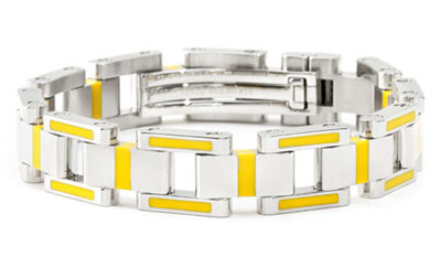 BERCHET Stainless Steel Yellow Enamel Bracelet