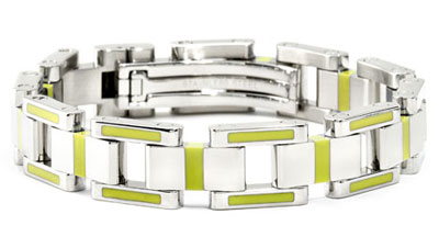 BERCHET Stainless Steel Green Enamel Bracelet