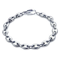 Titanium Men's 10MM Flat Oval Link Bracelet