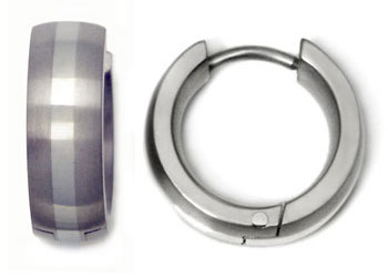 Titanium White Gold Inlay Huggie Earrings
