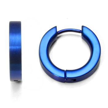 Royal Blue Anodized Titanium Huggie Earrings