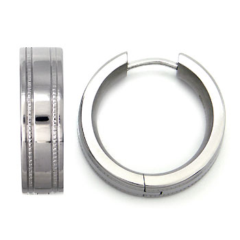 Titanium Milgrain Hoop Earrings
