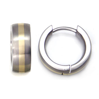 Titanium Gold Inlay Huggie Earrings