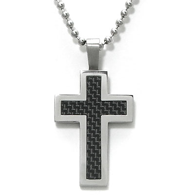 Stainless Steel Carbon Fiber Cross Pendant w/ Bead Chain