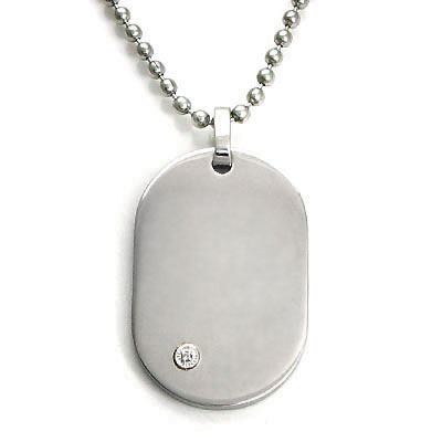 Nitrogen-LG Stainless Steel Diamond Dog Tag Pendant w/ Bead Chain