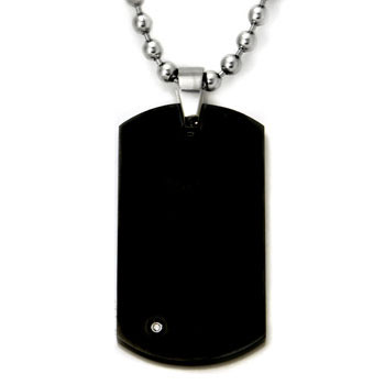 Black Tungsten Diamond Dog Tag Pendant w/ Bead Chain