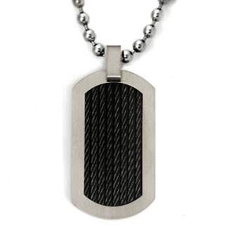 Black Titanium Cable Dog Tag Pendant w/ Bead Chain