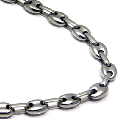 Titanium Men's 5MM Flat Oval Link Necklace Chain