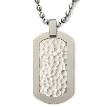 Titanium Hammered Dog Tag Pendant w/ Bead Chain