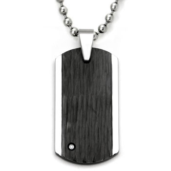 Tungsten Diamond Hammer Finish Dog Tag Pendant w/ Bead Chain